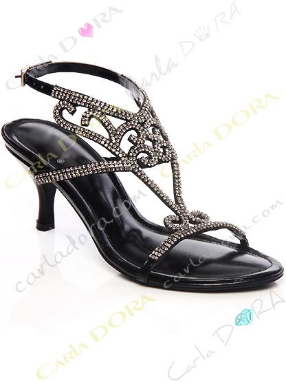 chaussures bijoux de soiree noires a strass anthracites, sandales de soiree strass arabesque