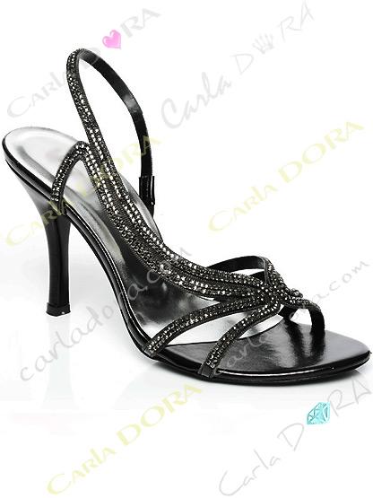 chaussures de soiree noires et argent a strass, sandales de soiree strass