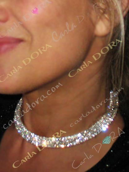 collier bijou ras de cou rigide 3 rangs de strass argent, collier ras du cou femme