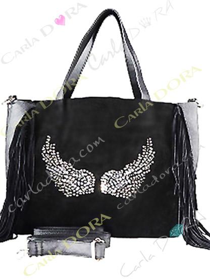 sac main femme daim noir a franges ailes d