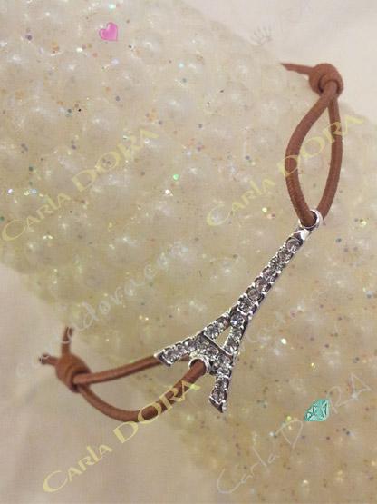 bijoux fantaisie bracelet tour eiffel strass, bracelet fantaisie femme brun