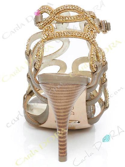 chaussure soiree bijou arabesque en cuir couleur taupe et en cristal dore , sandales de soiree cuir et strass cristal
