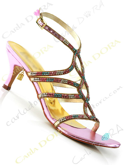 chaussure femme de soiree rose turquoise et blanc a strass, sandales de soiree strass