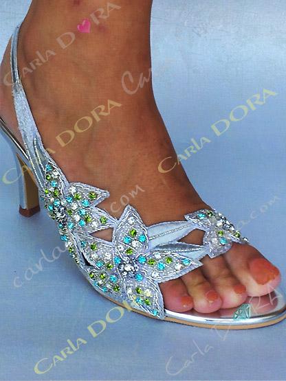 chaussure femme de soiree argent strass turquoise, sandales de soiree strass