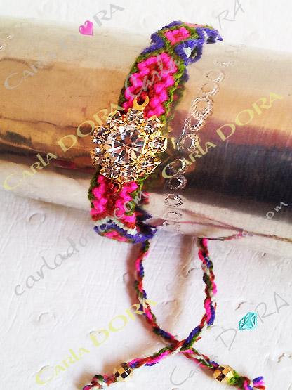 bracelet bresilien mode hippy chic strass rond, bijou fantaisie bracelets bresiliens a la mode