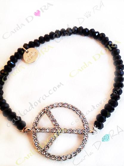 bracelet peace & love strass et perles cristal a facettes