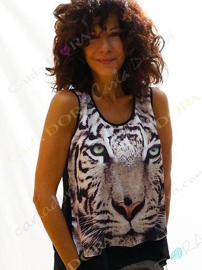 top femme jungle tete de tigre blanc sur fond noir, top jungle top femme fashion a la mode