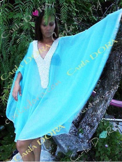 poncho tunique de plage chic pratique et moderne, poncho femme bleu turquoise