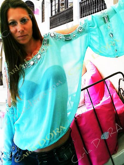top tunique glamour couleur vert lagon bleu turquoise et strass, top femme aqua tendance epaules nues