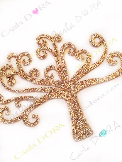 sticker thermocollant arbre de vie dore scintillant pour customiser sacs, pochettes, vetements, linge de maison,...
