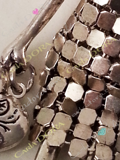 collier fantaisie charm femme sautoir fashion cote de maille metal argent et strass, bijou fantaisie sautoir femme mode