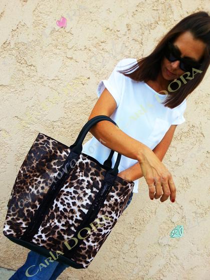 sac cabas panthere et paillettes sac shopping porte epaule  pour shopping sac a main porte main