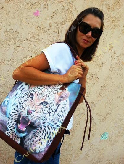 sac a main femme leopard shopping cabas, sac a main panthere shopping 2 en 1